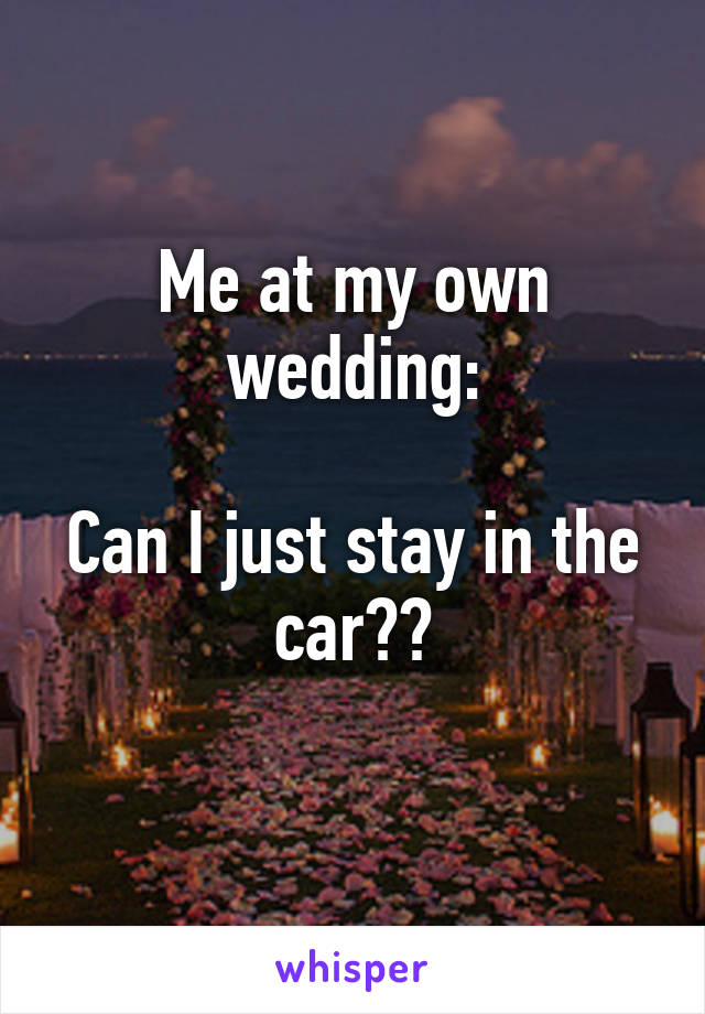 Me at my own wedding:  Can I just stay in the car??