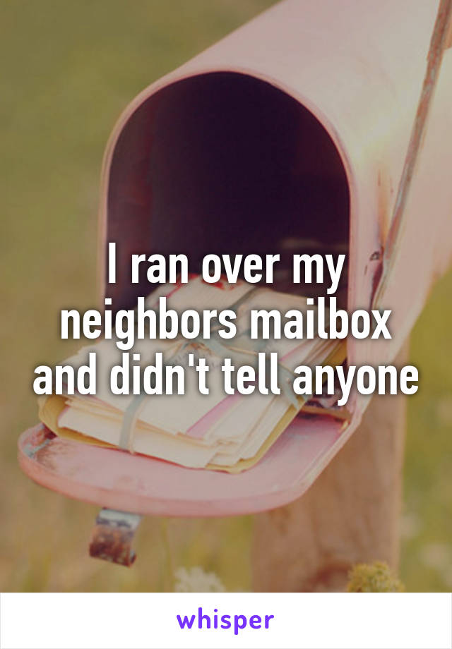 I ran over my neighbors mailbox and didn't tell anyone