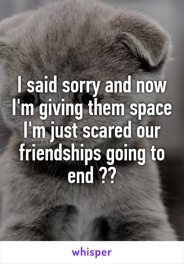 I said sorry and now I'm giving them space I'm just scared our friendships going to end 😪🤕
