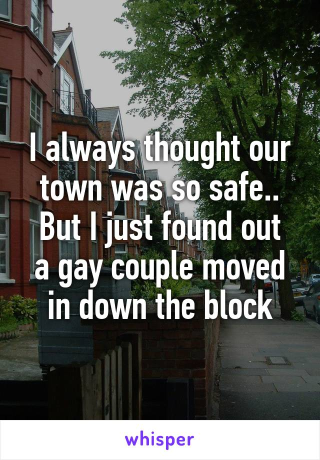 I always thought our town was so safe.. But I just found out a gay couple moved in down the block