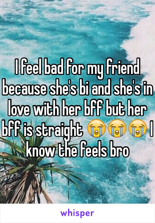 I feel bad for my friend because she's bi and she's in love with her bff but her bff is straight 😭😭😭 I know the feels bro