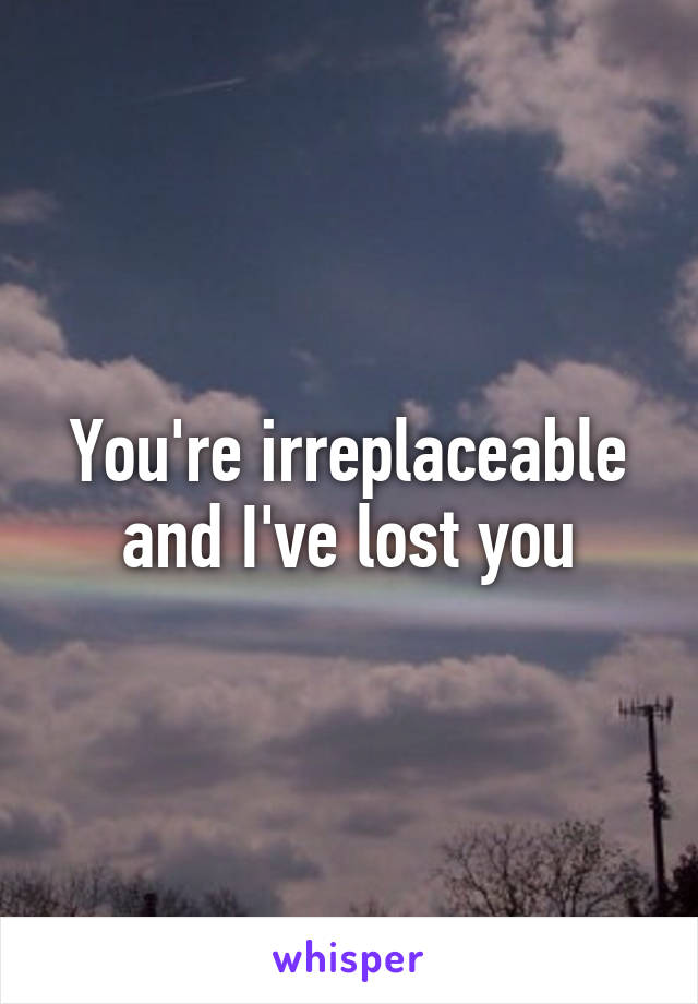 You're irreplaceable and I've lost you