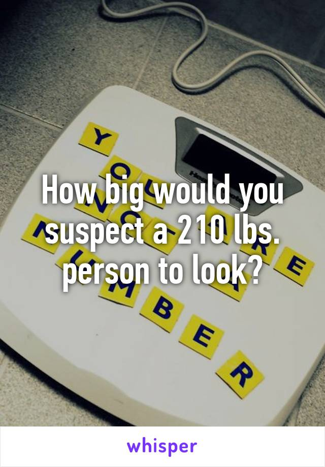 How big would you suspect a 210 lbs. person to look?