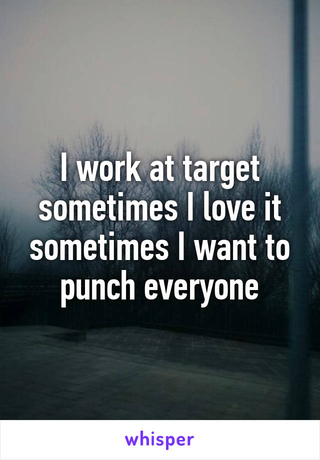 I work at target sometimes I love it sometimes I want to punch everyone