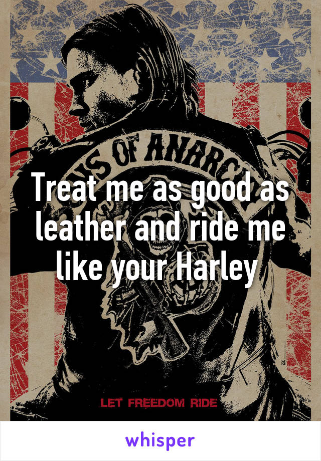 Treat me as good as leather and ride me like your Harley