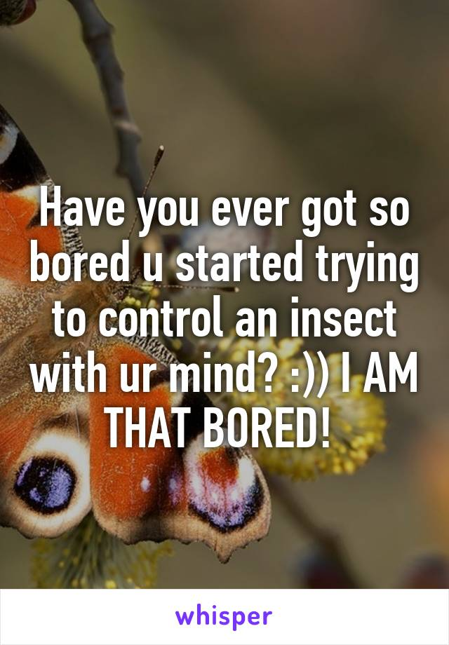 Have you ever got so bored u started trying to control an insect with ur mind? :)) I AM THAT BORED!