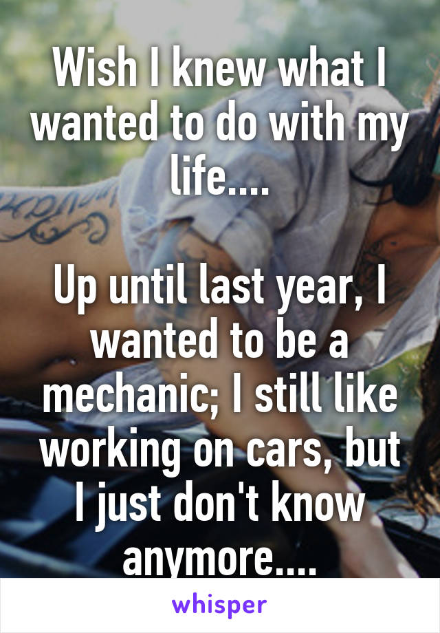 Wish I knew what I wanted to do with my life....  Up until last year, I wanted to be a mechanic; I still like working on cars, but I just don't know anymore....