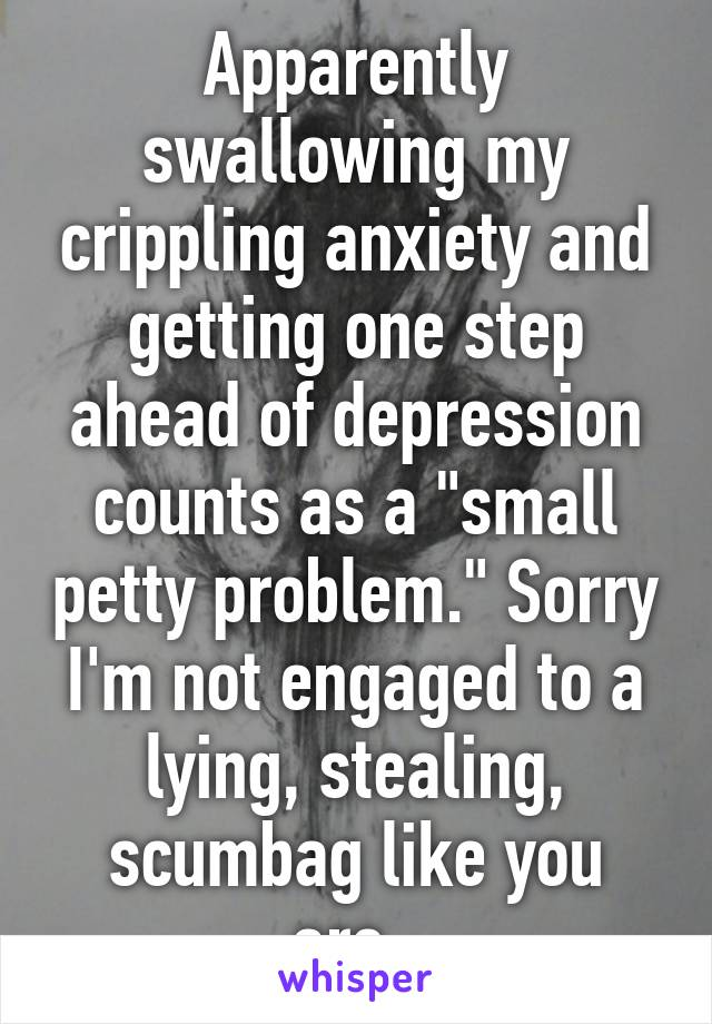 """Apparently swallowing my crippling anxiety and getting one step ahead of depression counts as a """"small petty problem."""" Sorry I'm not engaged to a lying, stealing, scumbag like you are."""