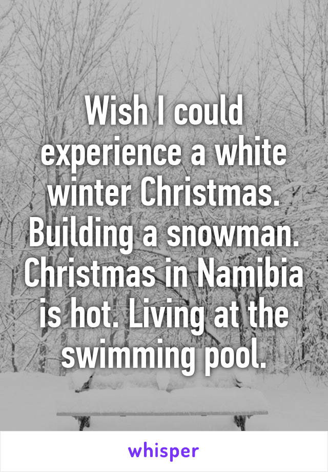 Wish I could experience a white winter Christmas. Building a snowman. Christmas in Namibia is hot. Living at the swimming pool.