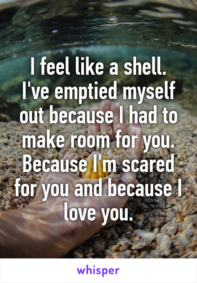 I feel like a shell. I've emptied myself out because I had to make room for you. Because I'm scared for you and because I love you.