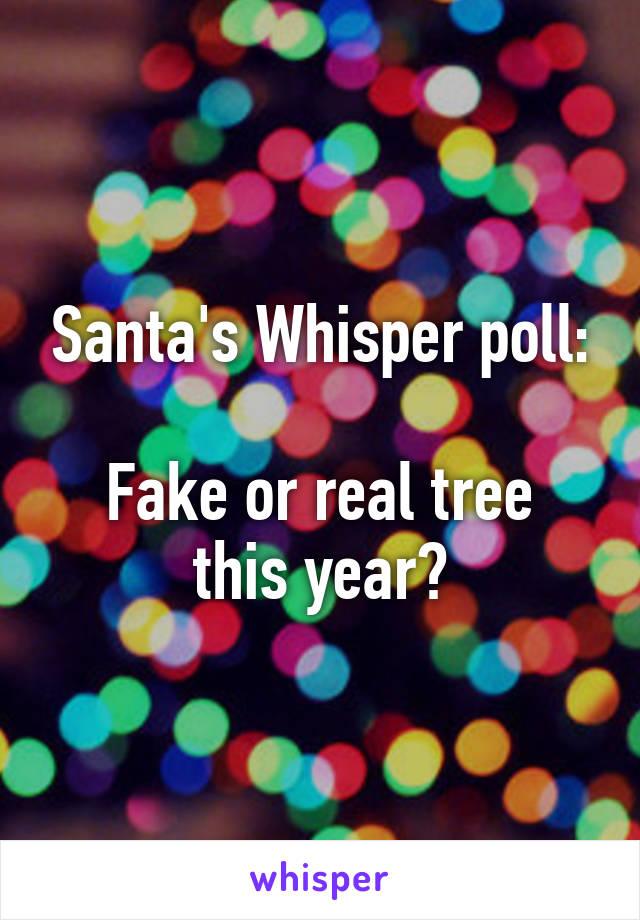 Santa's Whisper poll:  Fake or real tree this year?