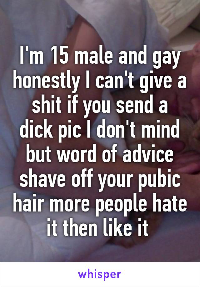 I'm 15 male and gay honestly I can't give a shit if you send a dick pic I don't mind but word of advice shave off your pubic hair more people hate it then like it