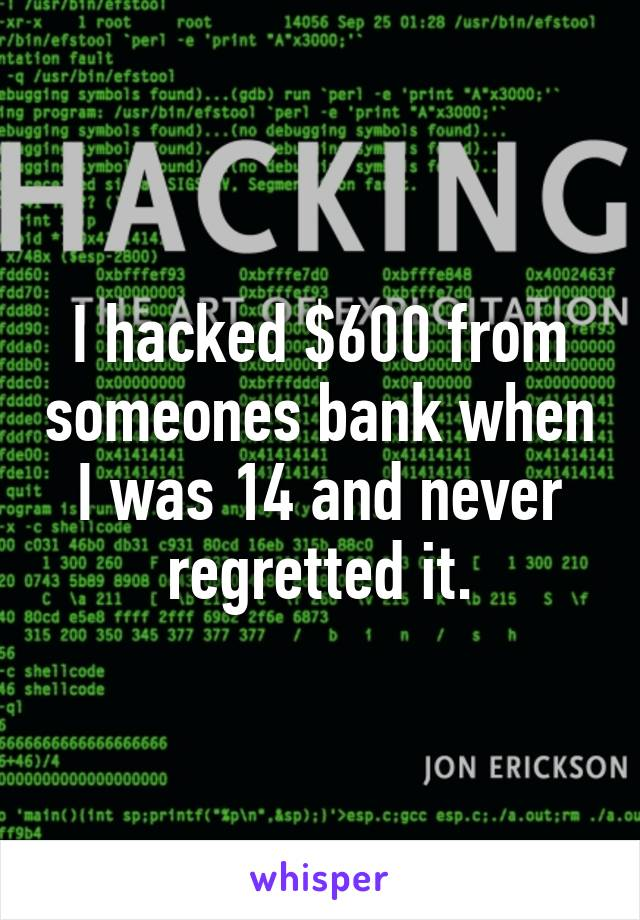 I hacked $600 from someones bank when I was 14 and never regretted it.