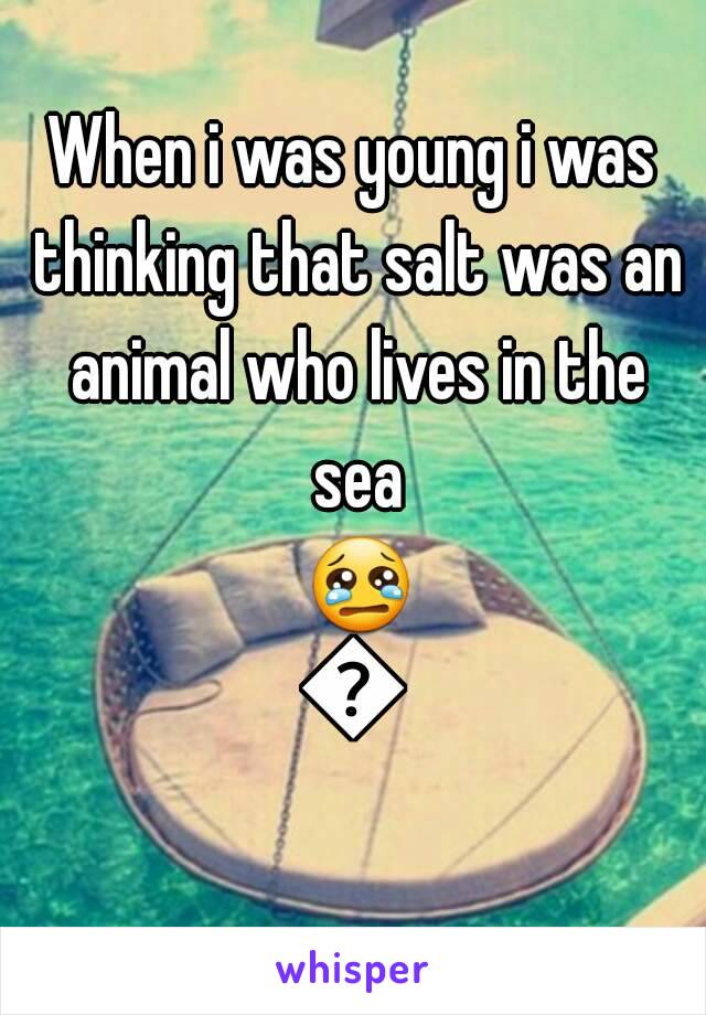 When i was young i was thinking that salt was an animal who lives in the sea 😢😢