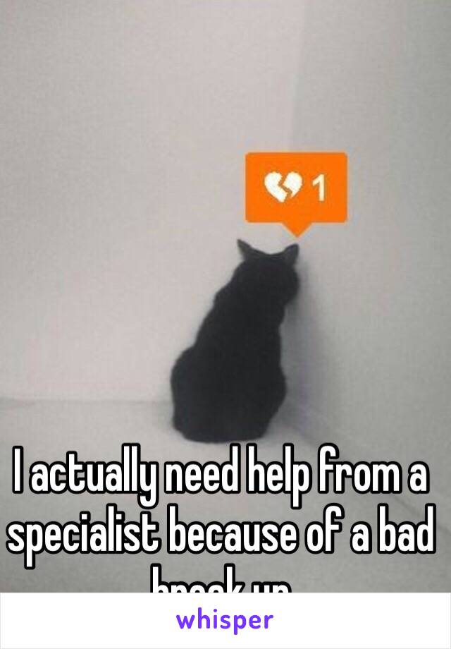 I actually need help from a specialist because of a bad break up