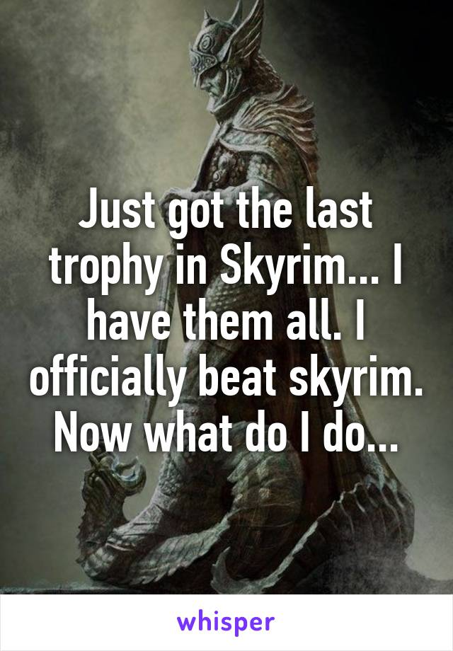 Just got the last trophy in Skyrim... I have them all. I officially beat skyrim. Now what do I do...