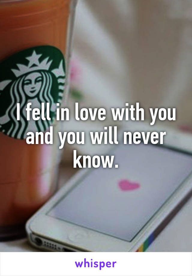 I fell in love with you and you will never know.