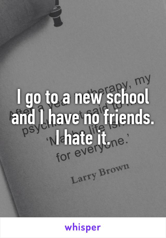I go to a new school and I have no friends. I hate it.