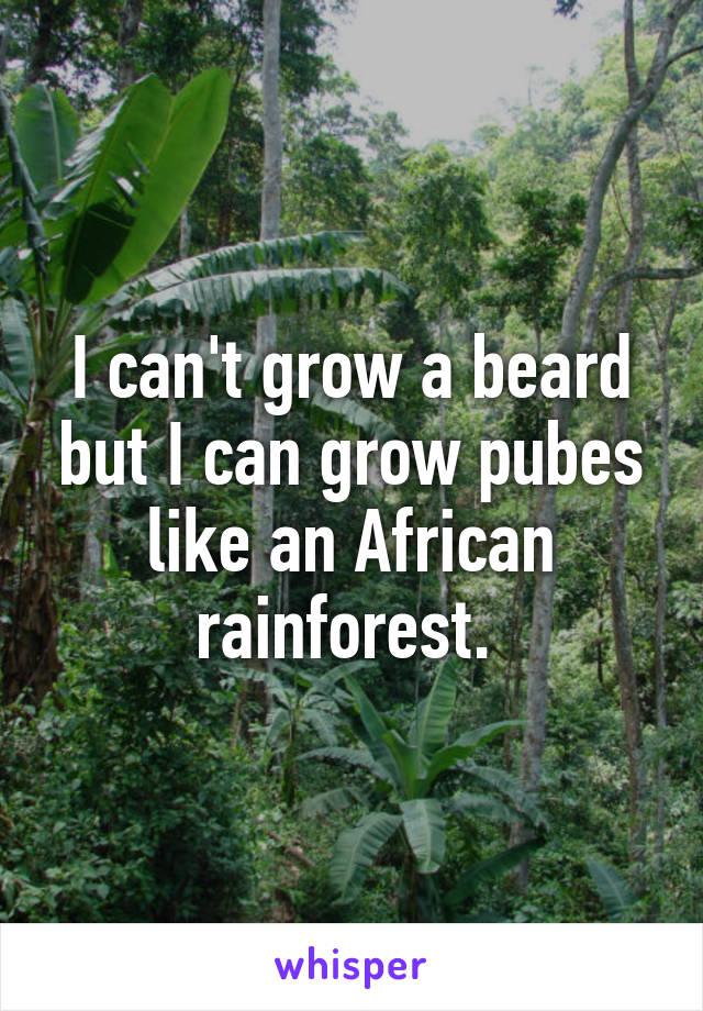 I can't grow a beard but I can grow pubes like an African rainforest.