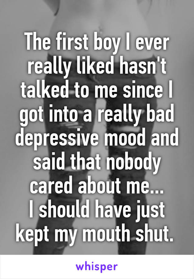 The first boy I ever really liked hasn't talked to me since I got into a really bad depressive mood and said that nobody cared about me... I should have just kept my mouth shut.