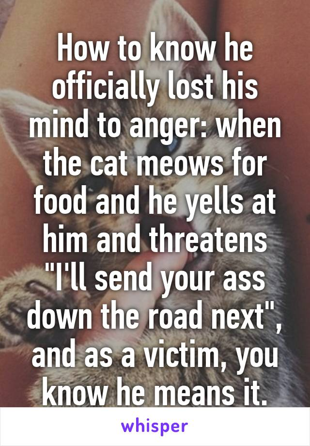 "How to know he officially lost his mind to anger: when the cat meows for food and he yells at him and threatens ""I'll send your ass down the road next"", and as a victim, you know he means it."