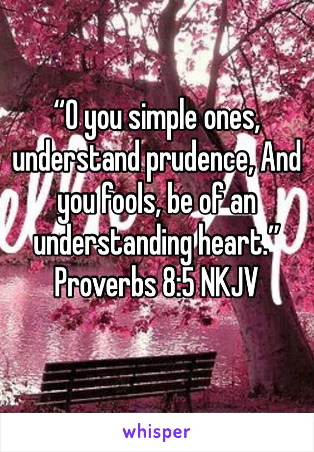 """""""O you simple ones, understand prudence, And you fools, be of an understanding heart."""" Proverbs 8:5 NKJV"""