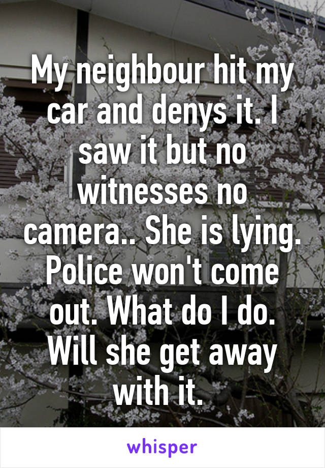 My neighbour hit my car and denys it. I saw it but no witnesses no camera.. She is lying. Police won't come out. What do I do. Will she get away with it.