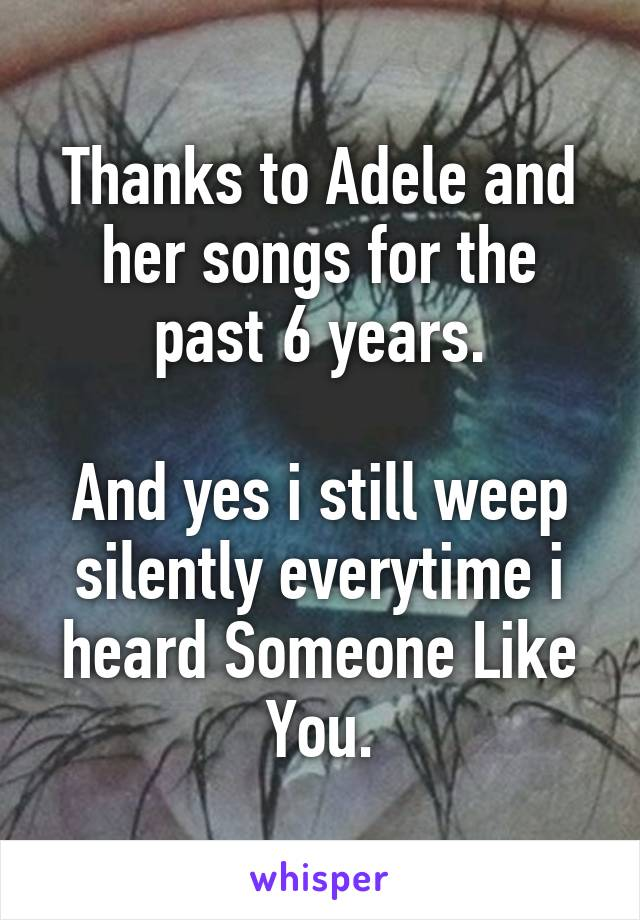Thanks to Adele and her songs for the past 6 years.  And yes i still weep silently everytime i heard Someone Like You.