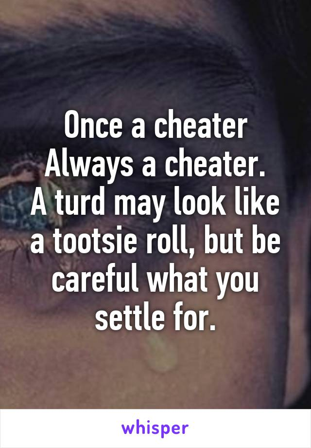Once a cheater Always a cheater. A turd may look like a tootsie roll, but be careful what you settle for.