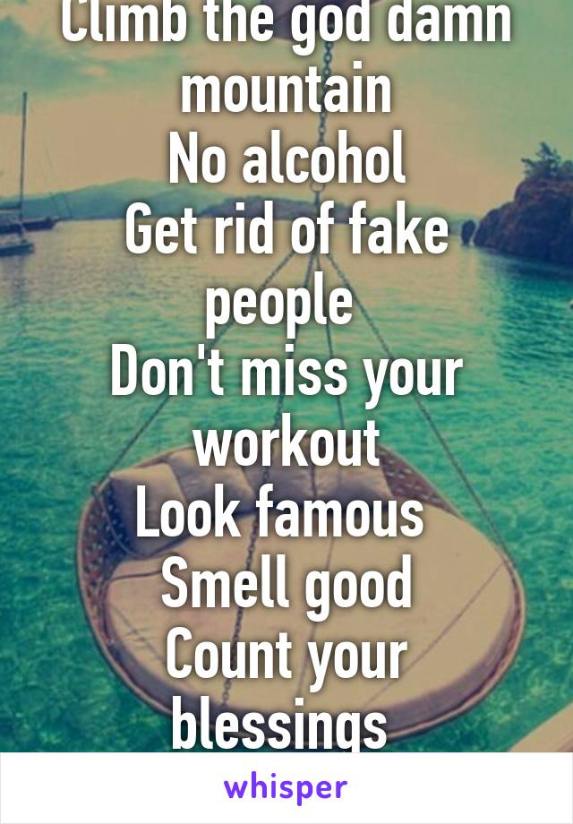 Reminder to self: Climb the god damn mountain No alcohol Get rid of fake people  Don't miss your workout Look famous  Smell good Count your blessings  Talk less, listen more