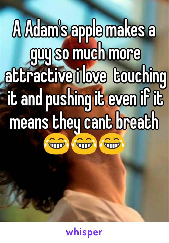 A Adam's apple makes a guy so much more attractive i love  touching it and pushing it even if it means they cant breath  😂😂😂