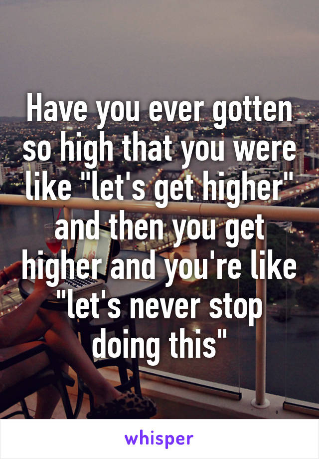 """Have you ever gotten so high that you were like """"let's get higher"""" and then you get higher and you're like """"let's never stop doing this"""""""