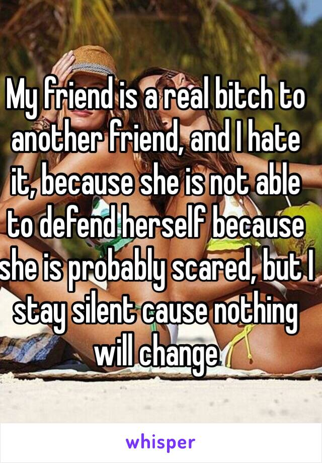 My friend is a real bitch to another friend, and I hate it, because she is not able to defend herself because she is probably scared, but I stay silent cause nothing will change