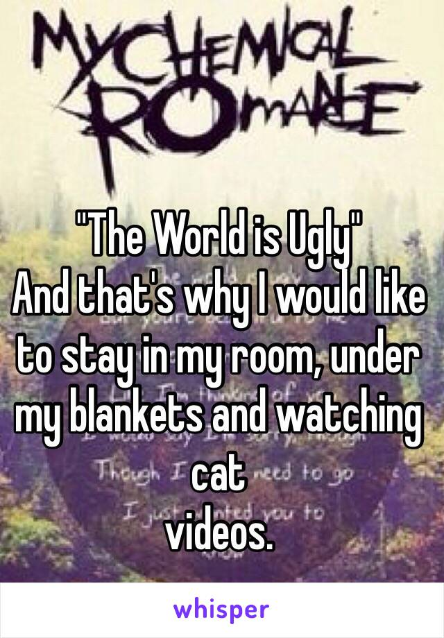 """The World is Ugly"" And that's why I would like to stay in my room, under my blankets and watching cat  videos."