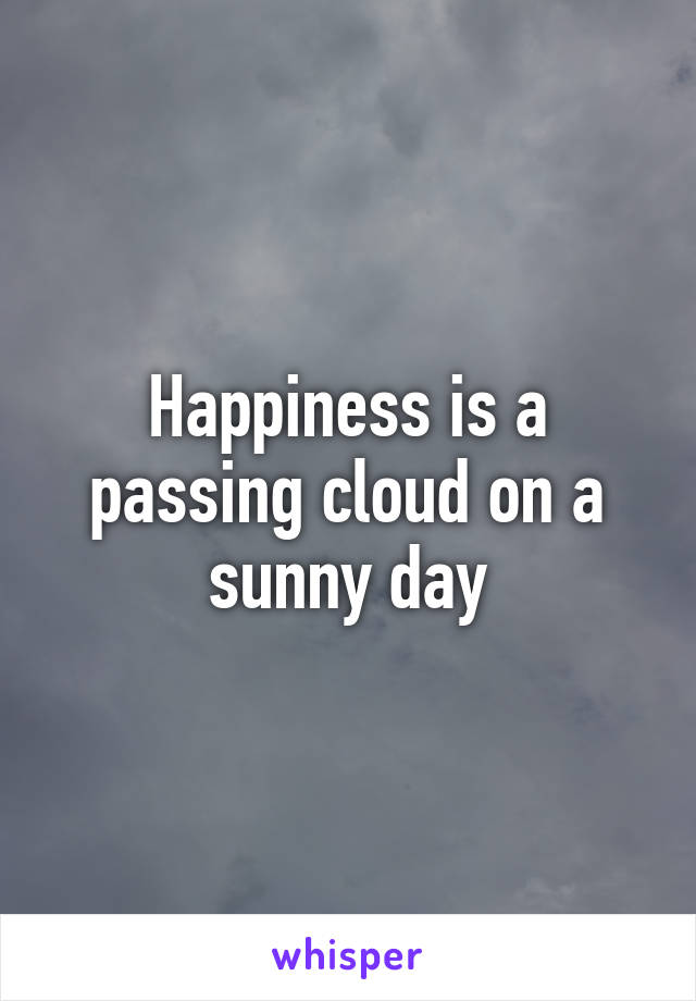 Happiness is a passing cloud on a sunny day