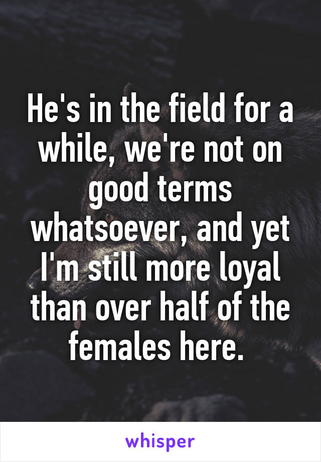 He's in the field for a while, we're not on good terms whatsoever, and yet I'm still more loyal than over half of the females here.