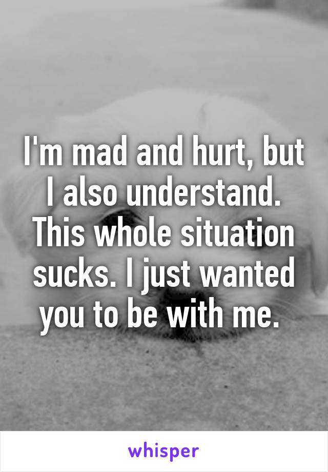 I'm mad and hurt, but I also understand. This whole situation sucks. I just wanted you to be with me.