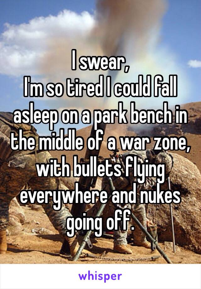 I swear, I'm so tired I could fall asleep on a park bench in the middle of a war zone, with bullets flying everywhere and nukes going off.