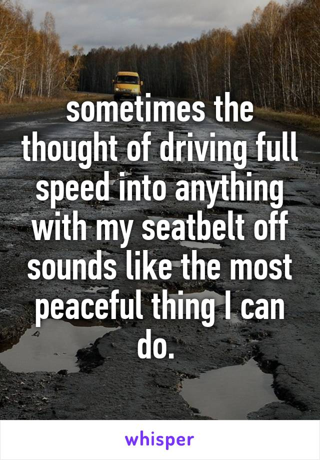 sometimes the thought of driving full speed into anything with my seatbelt off sounds like the most peaceful thing I can do.