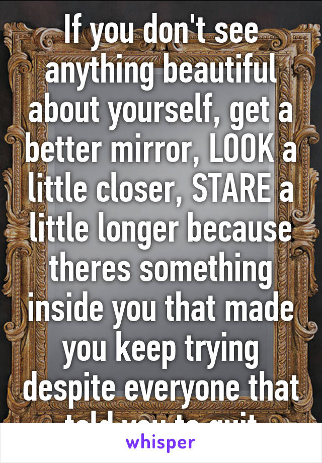 If you don't see anything beautiful about yourself, get a better mirror, LOOK a little closer, STARE a little longer because theres something inside you that made you keep trying despite everyone that told you to quit