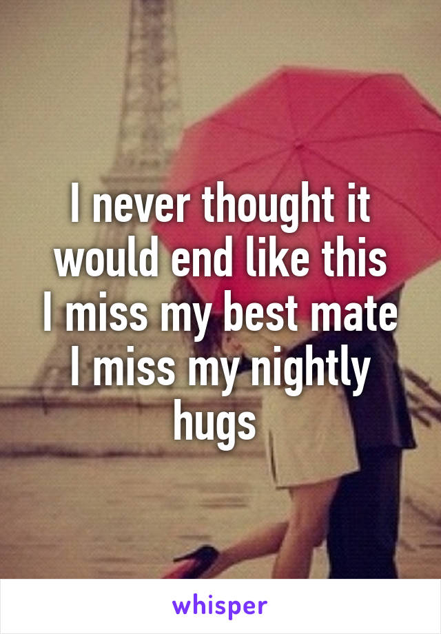 I never thought it would end like this I miss my best mate I miss my nightly hugs