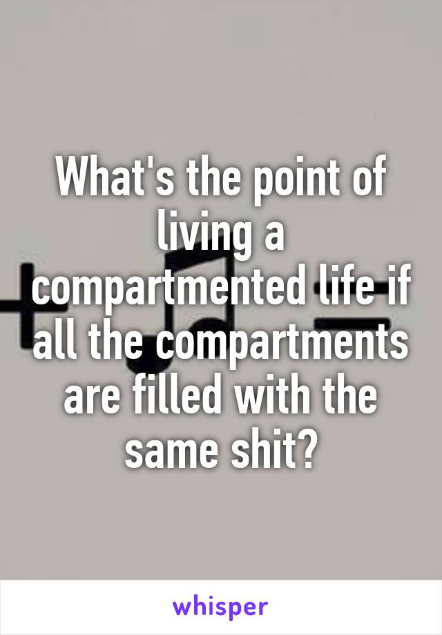 What's the point of living a compartmented life if all the compartments are filled with the same shit?