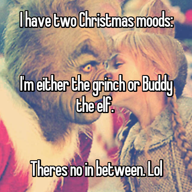 I have two Christmas moods:   I'm either the grinch or Buddy the elf.    Theres no in between. Lol