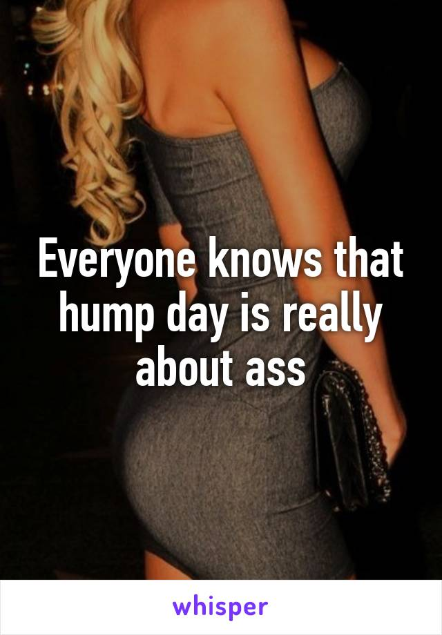 Everyone knows that hump day is really about ass
