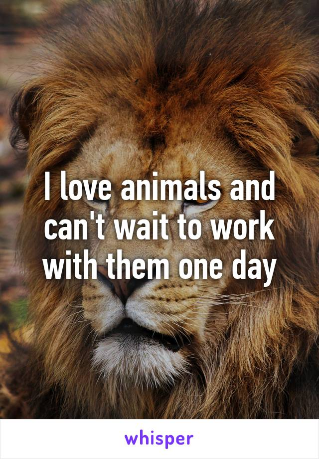 I love animals and can't wait to work with them one day