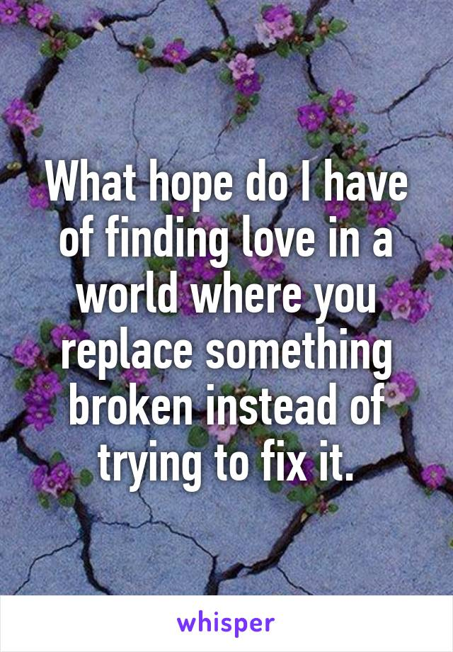 What hope do I have of finding love in a world where you replace something broken instead of trying to fix it.