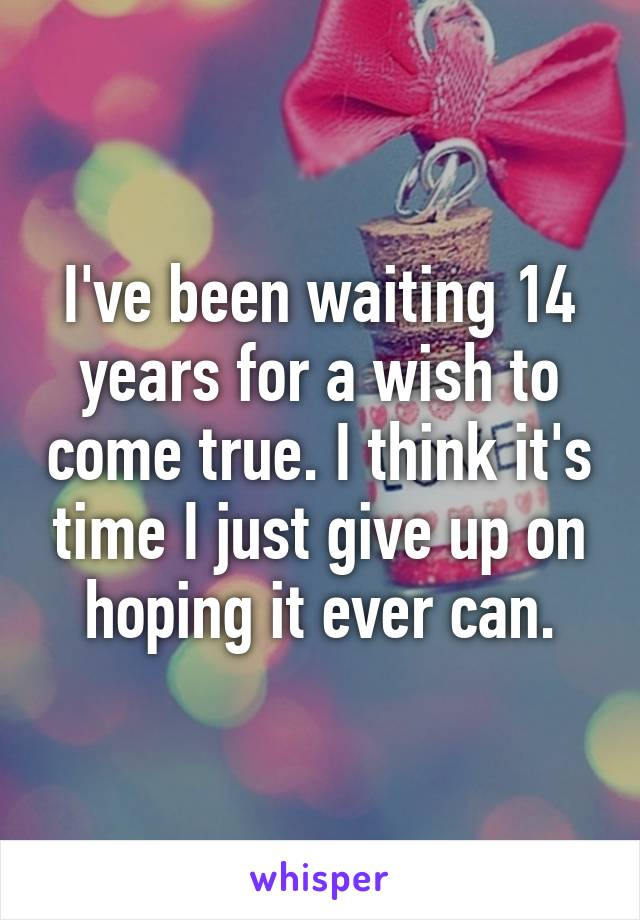 I've been waiting 14 years for a wish to come true. I think it's time I just give up on hoping it ever can.