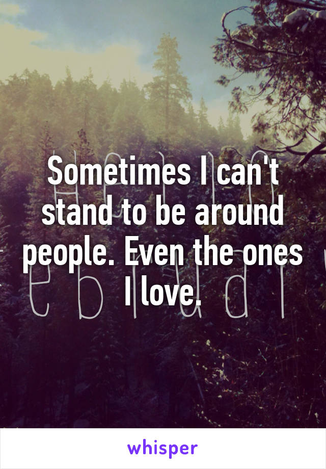 Sometimes I can't stand to be around people. Even the ones I love.