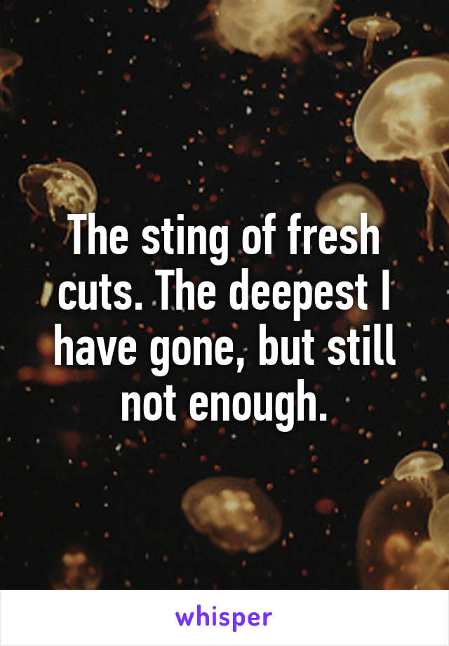 The sting of fresh cuts. The deepest I have gone, but still not enough.