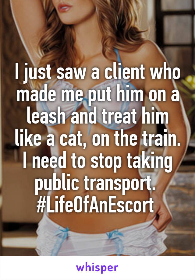 I just saw a client who made me put him on a leash and treat him like a cat, on the train. I need to stop taking public transport.  #LifeOfAnEscort